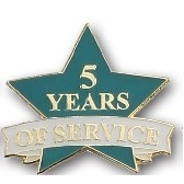 5 Years of Service Stock Pin