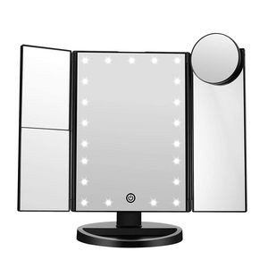 Lighted Makeup Mirror with 21 LED Lights Touch Screen Dimming Tri-Fold 10X/3X/2X/1X Magnification