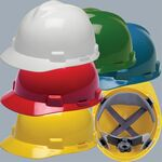 Custom MSA V-Gard (R) Hardhat w/ FasTrac Ratchet Suspension