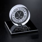 Custom Hockey Puck on Black Glass Base 3-3/8