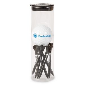 Golf Ball and Tees in Tube