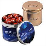 Custom Round Tin w/Chocolate Footballs