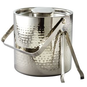 Elegance Stainless Steel Collection 3 Quart Hammered Ice Bucket w/ Tongs