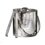 Custom Double-Wall Hammered Stainless Steel Ice Bucket w/ Tongs