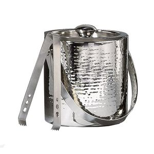 Double-Wall Hammered Stainless Steel Ice Bucket w/ Tongs
