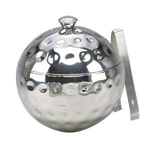 8 Bolt Hammered Stainless Globe Ice Bucket w/ Tongs