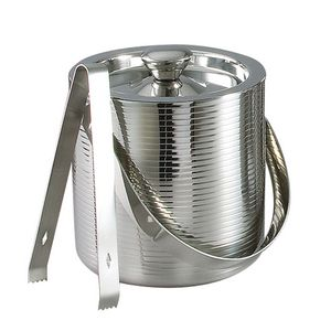 6 Lines Double Wall Stainless Ice Bucket w/ Tongs
