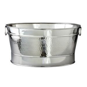 Hammered Stainless Steel Oval Party Tub