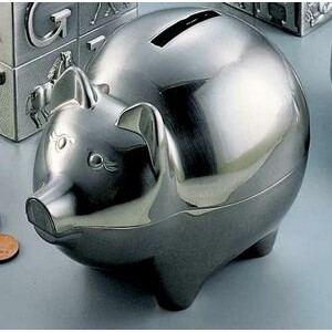 Brushed Pewter Finish Pig Bank