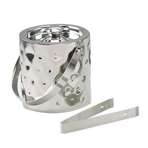 6 Bolt Hammered Stainless Double Wall Ice Bucket w/ Tongs