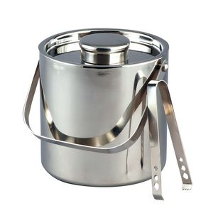 3 Quart Large Classic Stainless Steel Ice Bucket w/ Tongs