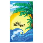 Custom 14 lb./doz. Beach Scene Beach Towel