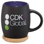 Custom Hearth Ceramic Mug with Wood Lid/Coaster 15oz