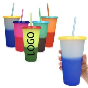 24oz Color Changing Tumbler with Straw