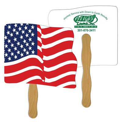 Wavy Flag Hand Fan Full Color (2 Sides)
