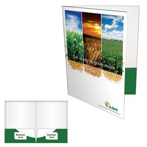 2 Pocket Presentation Folder w/ Glued Pocket & Card Slit on Both Sides