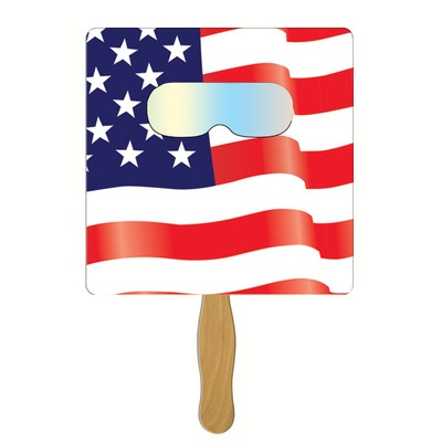 Square Fireworks Fan w/ Pre-Printed American Flag & Fireworks Film