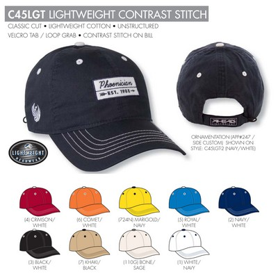 Ahead Lightweight Contrast Stitch Golf Cap - Blank
