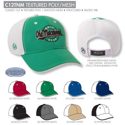 Ahead Textured Poly Mesh Golf Cap - Blank