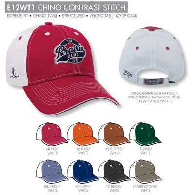 Ahead Chino Contrast Stitch Golf Cap - Blank