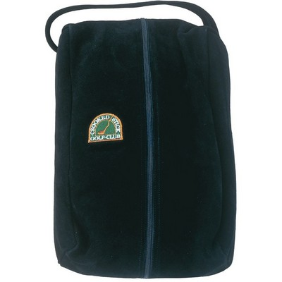 Genuine Suede Fur Lined Clubhouse Style Shoe Bag - Embroidered