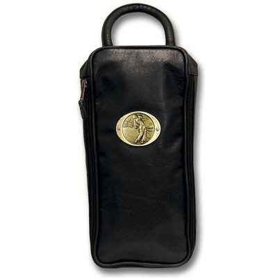 Leatherette Shoe Bag W/ Logoed Medallion (Die Struck)