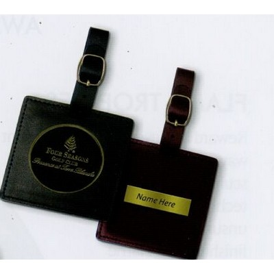 "Square Leather Bag Tag 3"" w/ Club Lorente 2"" Coin"