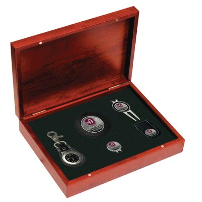 Rosewood Finish Gift Kit- watch, bag tag, repair tool, hat clip, money clip