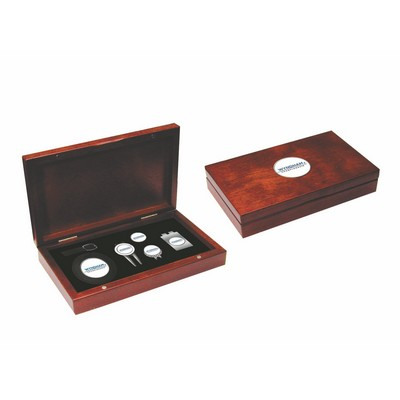 Rosewood Finish Golf Kit, Bag Tag, repair tool, hat clip, money clip, ball marker