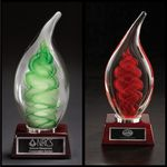 Custom Dublin Art Glass Award w/ Rosewood Base