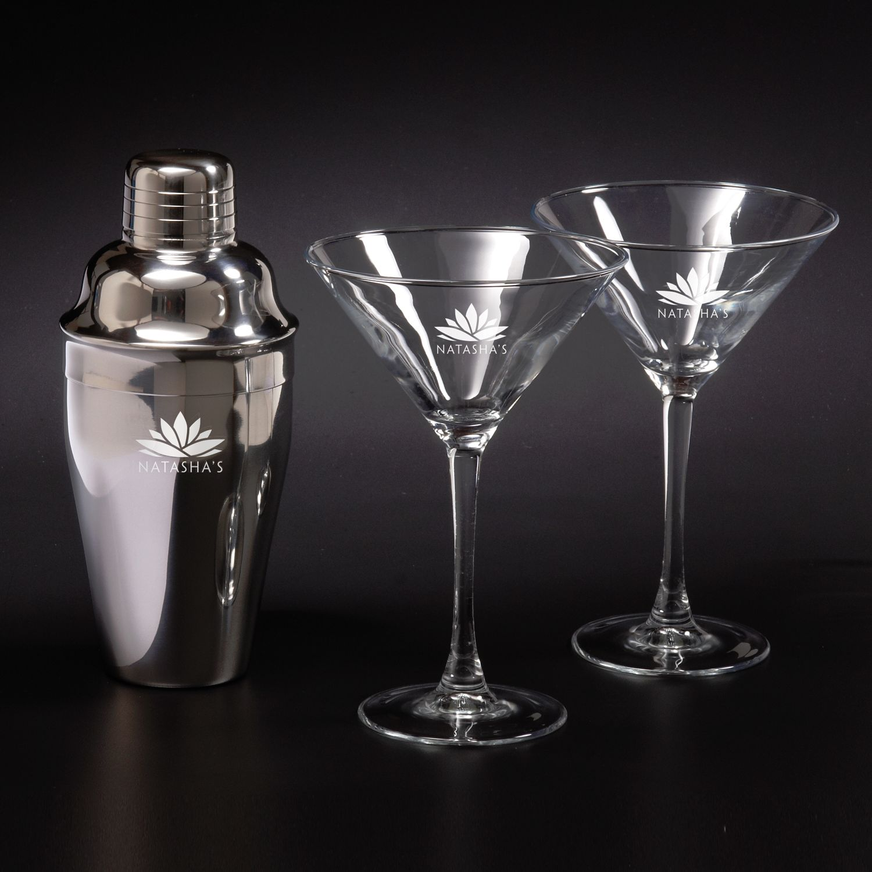 Martini Shaker Set w/ 2 Glasses