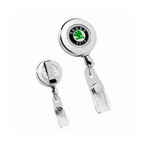 Circle Chrome Retractable Badge Holder