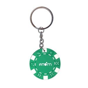 Green Poker Chip Keychain
