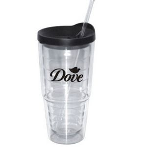 24 Oz. Double Wall Plastic Cup w/ Straw