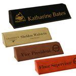 Custom Laserable Leatherette Desk Wedge Name Plate - Laser Engraved