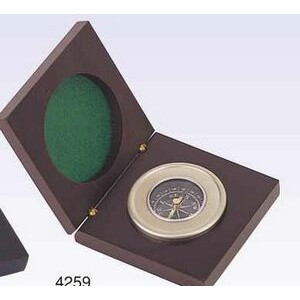 Chrome Compass In Wooden Box (Screened)