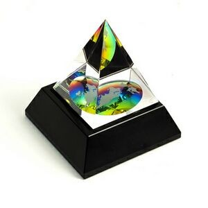 Crystal Etched World Globe Pyramid on Black Base (Screen Imprint or Laser)