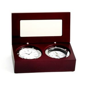 Chrome Clock / Compass In Executive Rosewood Box