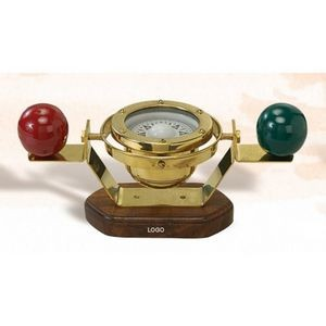 "11"" Wide Standard V Model Compass on Walnut Base"