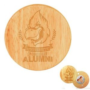 "2 3/4"" Round Wooden Magnetic Bottle Opener"