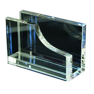 Clear Crystal Business Card Holder - Screened
