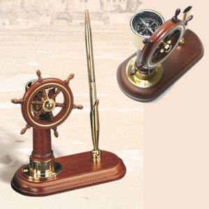 Ship Wheel with Compass Business Pen Holder