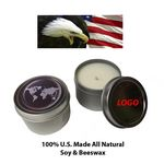 Custom 100 percent US Made Vanilla Scented Candle in Tin Case (3oz.)