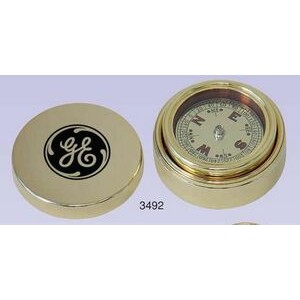 Gold Plated Brass Navigator Compass & Brass Case (Screened)