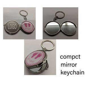 2 In 1 Compact Mirror Keychain