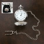 Custom Clip-On Metal Pocket Watch with Chain in Black Faux Suede Pouch (Silver)