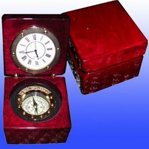 Captain's Box W/Clock And Compass