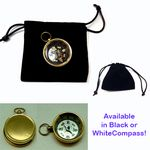 Custom Brass Compass w/ Velveteen Pouch