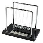 Custom Newtons Cradle with Black Marble Base and Silver Plate