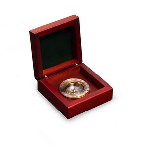 Brass Compass In Wooden Box
